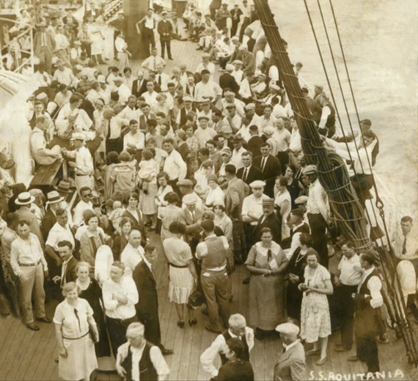 Immigrants on a boat from Gdansk to America