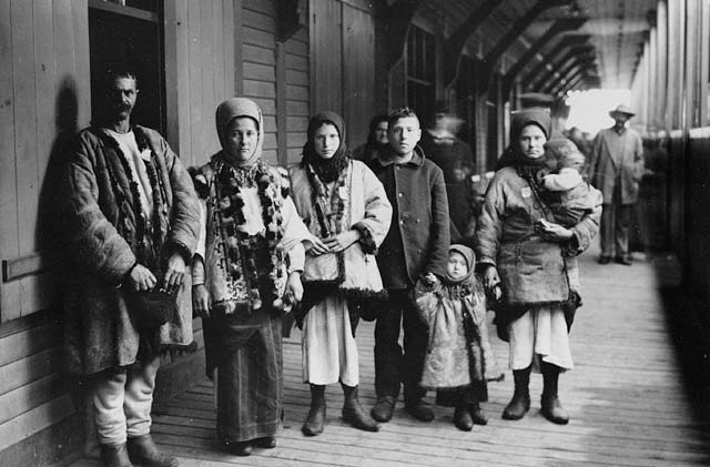 Immigrants from Halychyna on a train station in Quebec