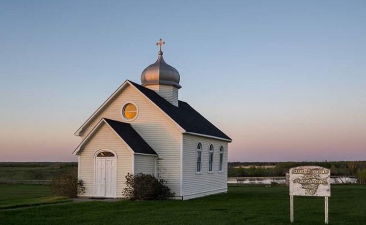 An old Ukrainian Catholic Church northeast of Edmonton